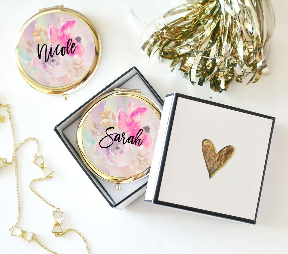 bridesmaid proposal ideas compact mirror