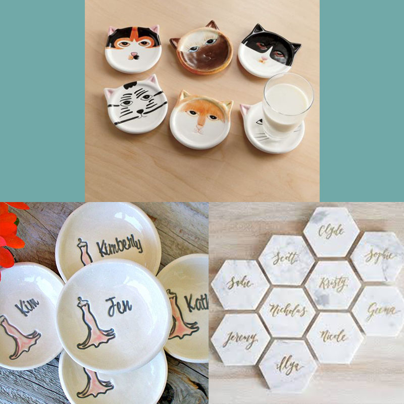 cat coaster marble coaster bridesmaid proposal ideas