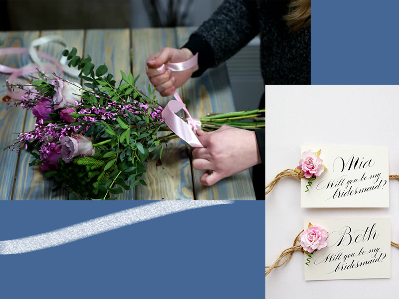bridesmaid proposal ideas flowers custom cards