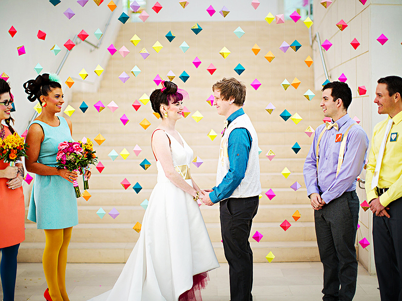 hipster-wedding-ceremony-bright-geo-backdrop