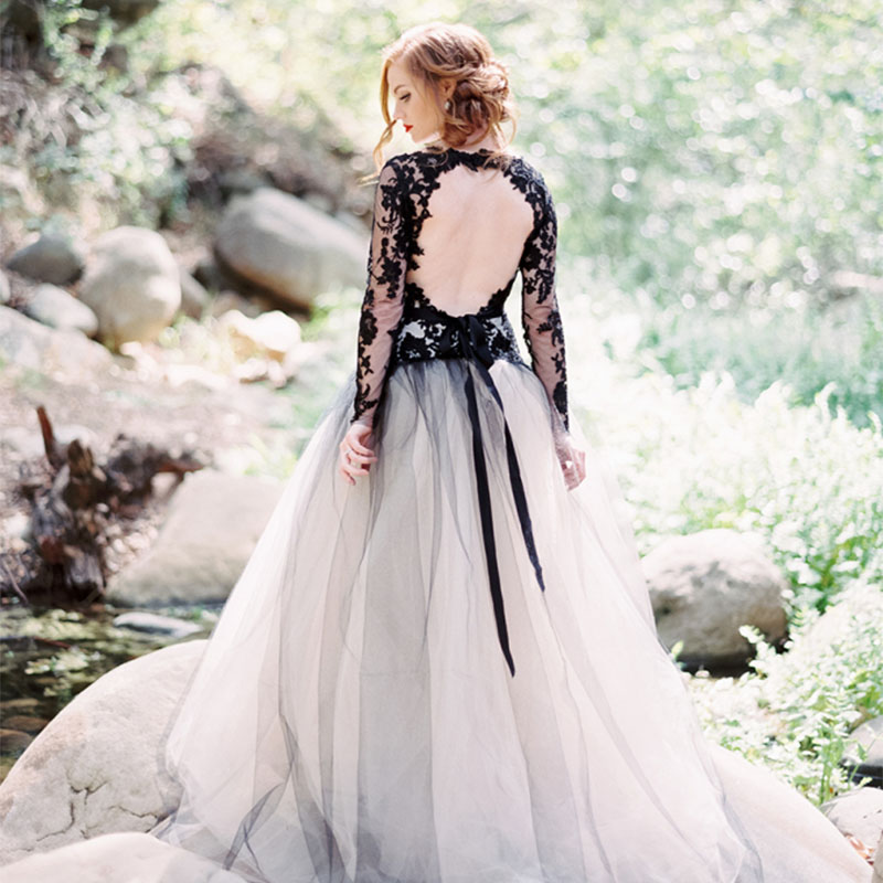 2018 trends black accents wedding dress ideas
