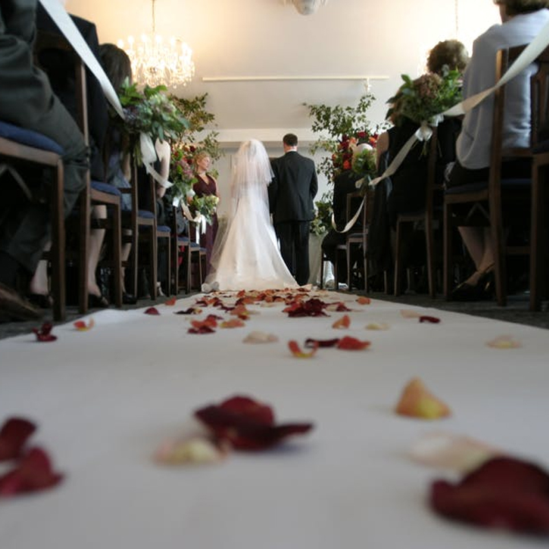 The marriage with vow promising to one another