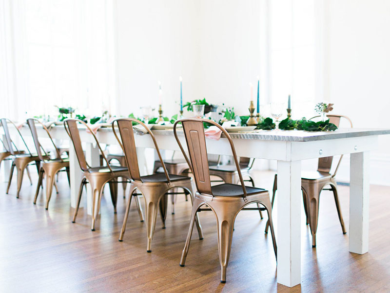 bridesmaid proposal ideas brunch set up white florals copper